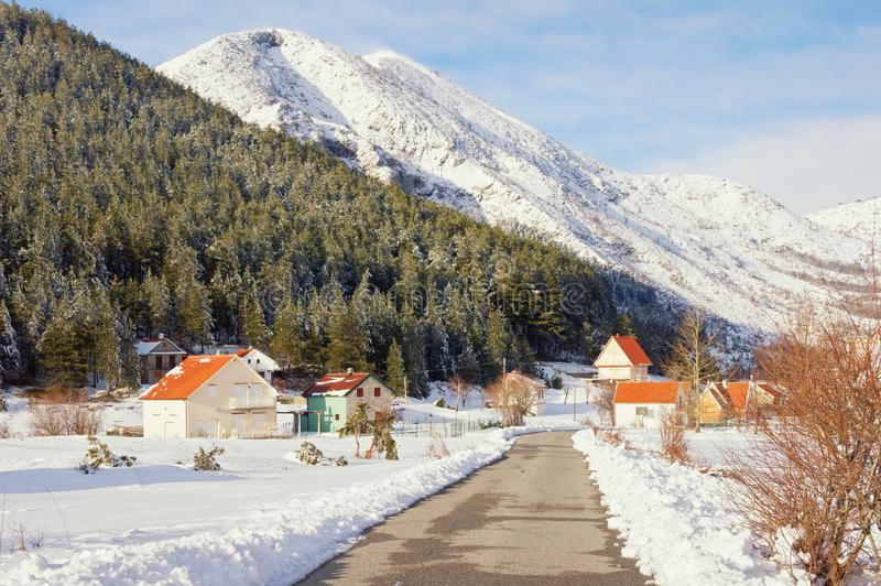 Picturesque winter mountain landscape. Montenegro, Lovcen National Park. Picturesque winter mountain landscape. Montenegro,  Lovcen National Park , view of royalty free stock image