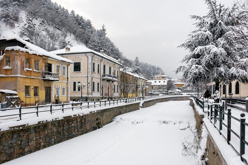 Picturesque winter scene by the frozen river of Florina, a small town in northern Greece. Picturesque winter scene by the river of Florina, a small town in royalty free stock image
