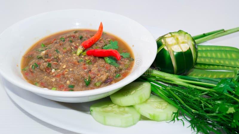 Picy ryba mince mieszankę dla południowego Lao jedzenia menu fotografia royalty free