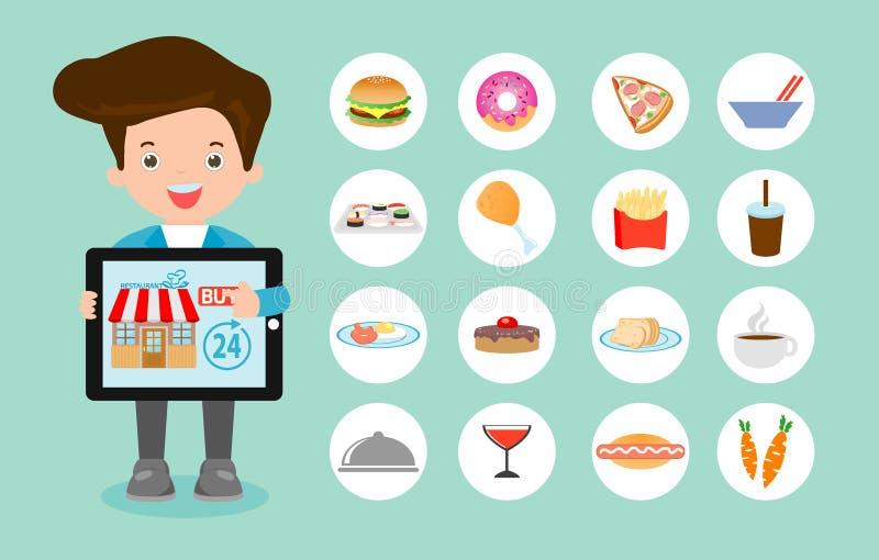 Pida la comida en línea, ordenar y el servicio de entrega en línea de los alimentos de preparación rápida, la red y la entrega, c libre illustration