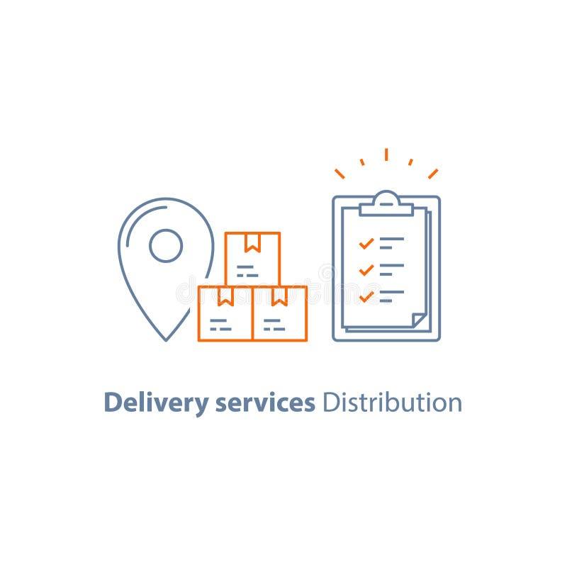 Pida la entrega, almacén de distribución, tablero de envío del seguro, compañía de la logística, envíe el paquete, reciba la caja stock de ilustración