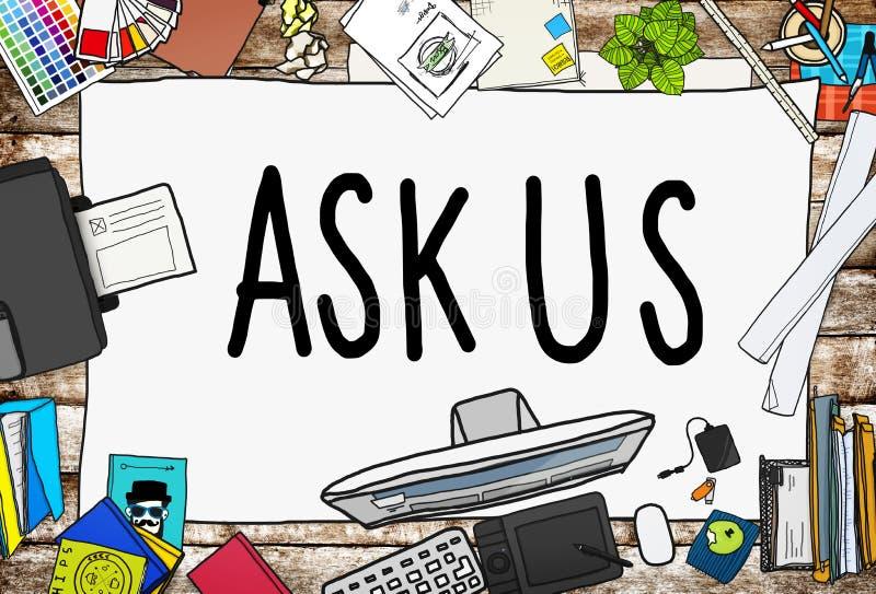 Pida que ayudemos a apoyar concepto de la información de la respuesta libre illustration