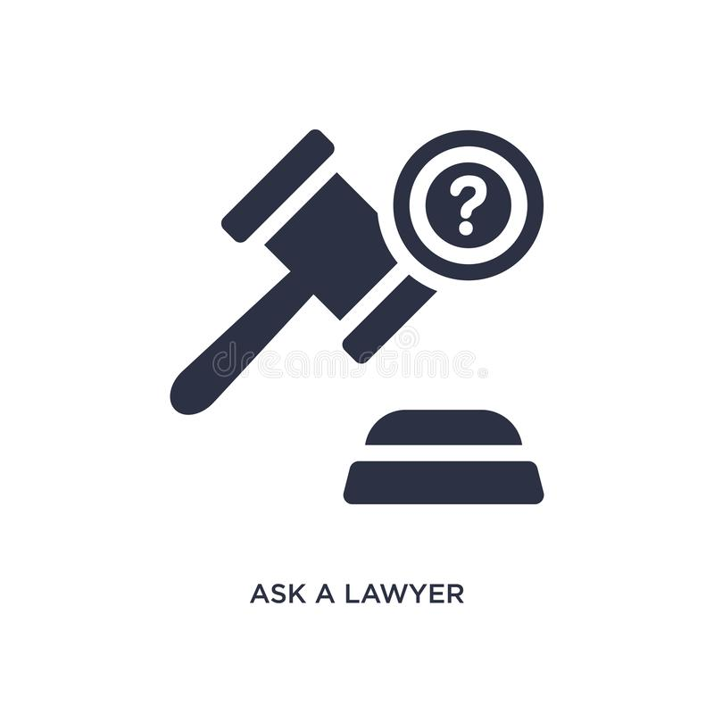 pida un icono del abogado en el fondo blanco Ejemplo simple del elemento del concepto de la ley y de la justicia stock de ilustración