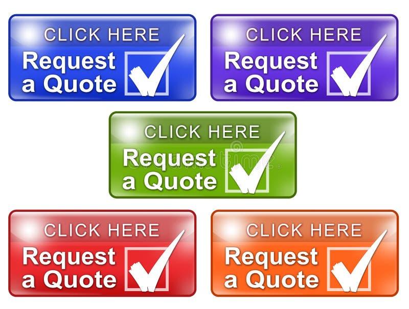 Pida una marca de verificación de los botones w del web de la cita stock de ilustración