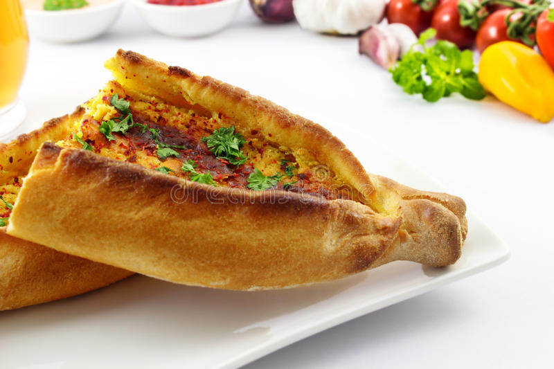 Pide with cheese stock images