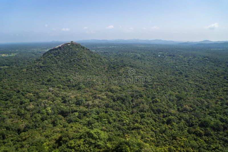 Pidurangala Rock, view from Sigiraya rock, Sri Lanka royalty free stock photo