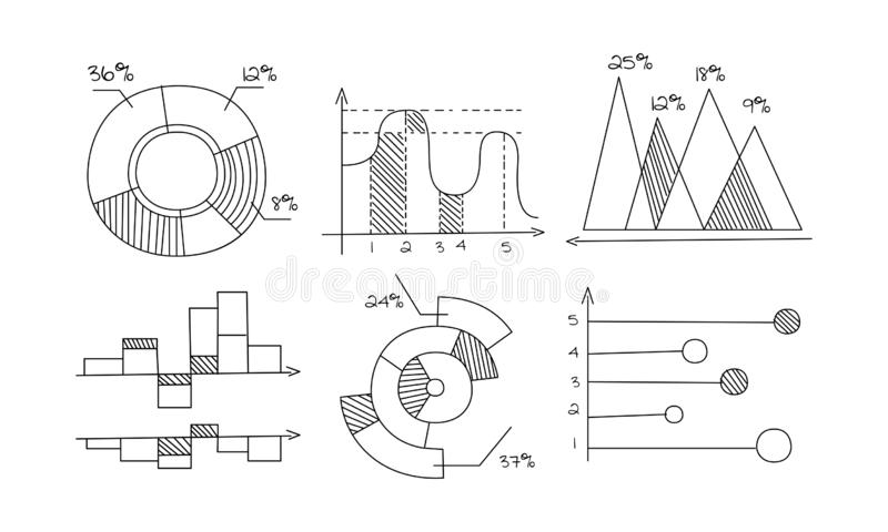 Pie, bar, chart, diagram and graph set, monochrome hand drawn infographic elements, business economic and financial stock illustration