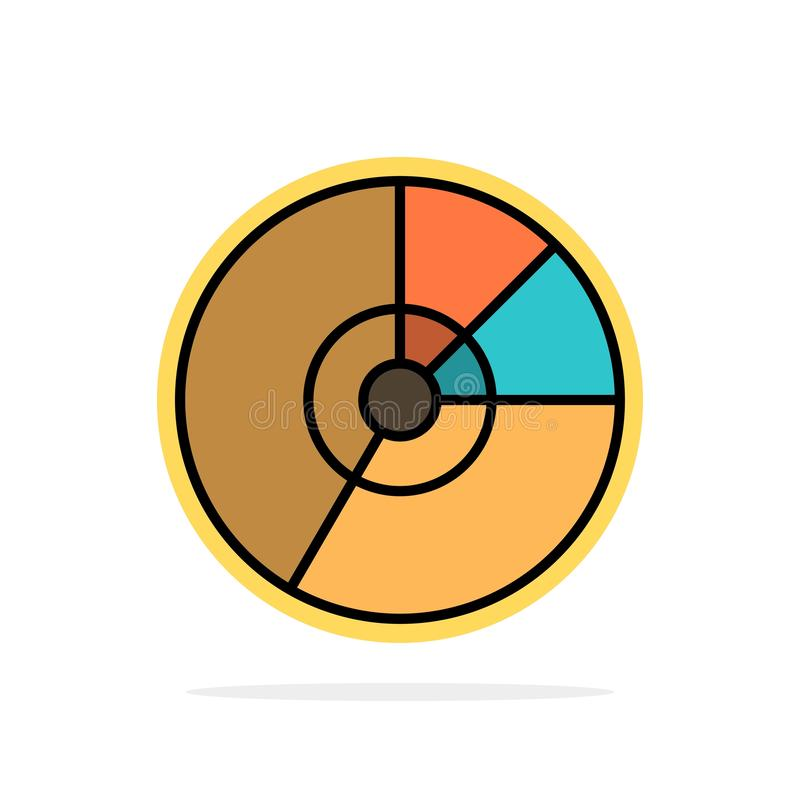 Pie, Business, Chart, Diagram, Finance, Graph, Statistics Abstract Circle Background Flat color Icon stock illustration