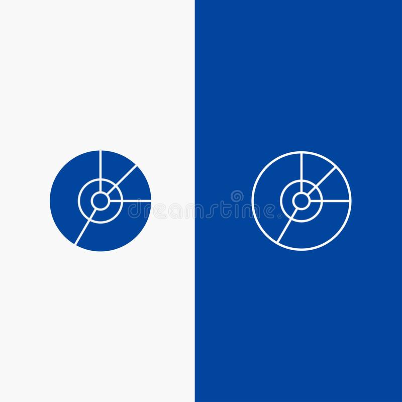 Pie, Business, Chart, Diagram, Finance, Graph, Statistics Line and Glyph Solid icon Blue banner Line and Glyph Solid icon Blue. Banner stock illustration