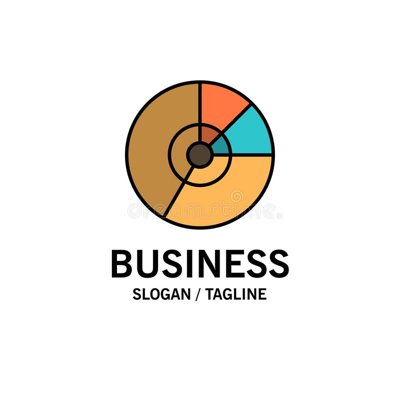 Pie, Business, Chart, Diagram, Finance, Graph, Statistics Business Logo Template. Flat Color royalty free illustration