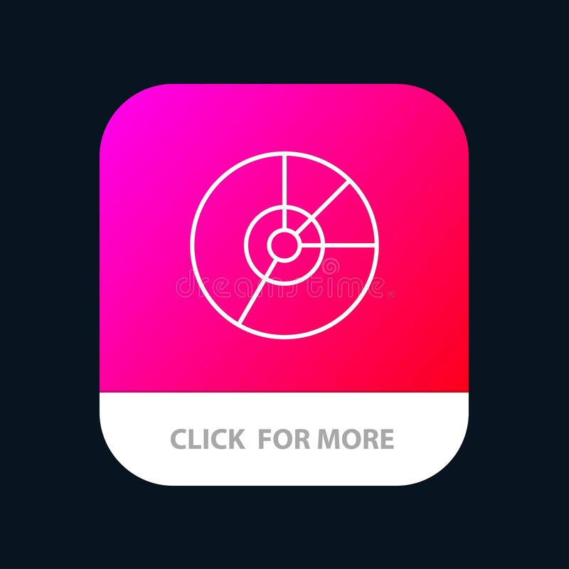 Pie, Business, Chart, Diagram, Finance, Graph, Statistics Mobile App Button. Android and IOS Line Version stock illustration