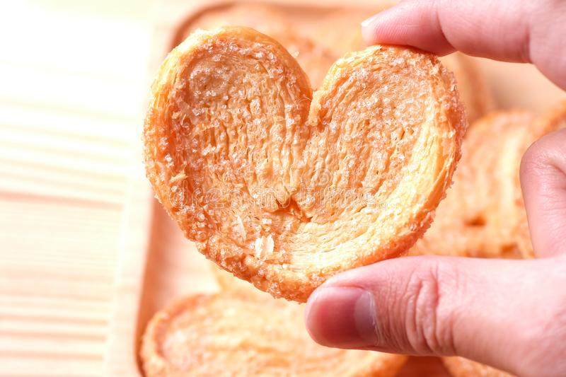Pie a butterfly, heart shaped patty crispy with sugar stock images