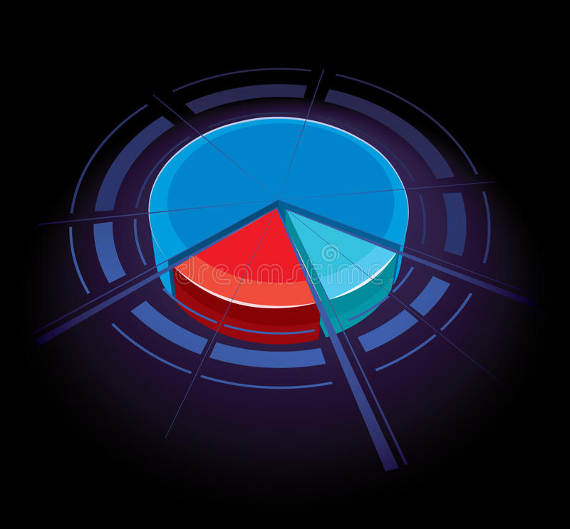 Pie Chart. A 3D illustration of a pie-chart graph stock illustration