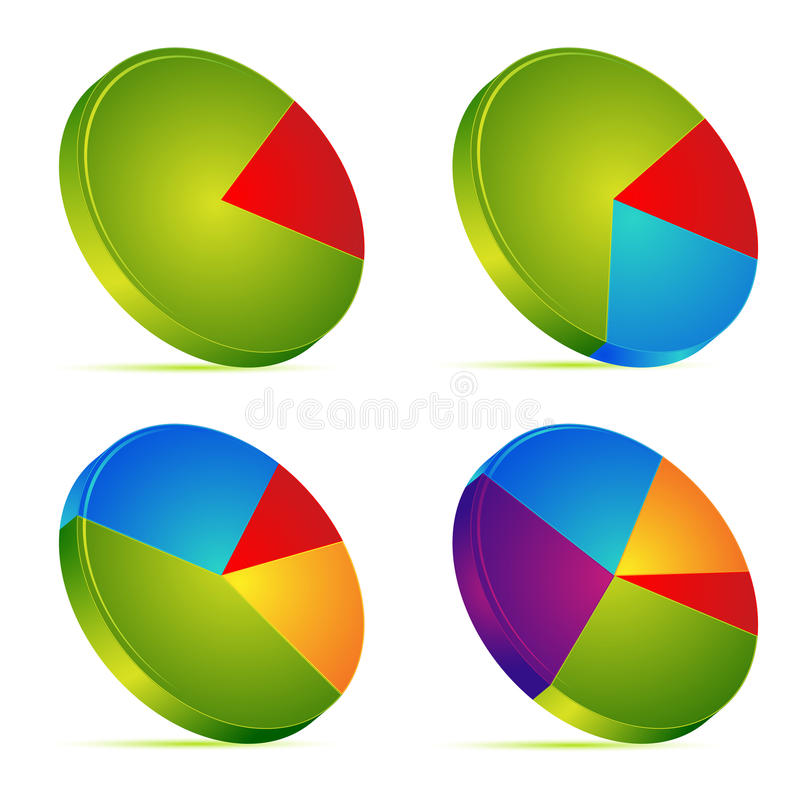 Pie Chart. Illustration of set of different pie chart on isolated background stock illustration