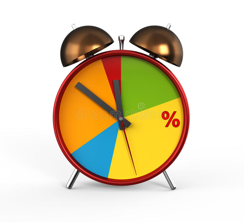 Pie chart. Red alarm clock with pie chart vector illustration