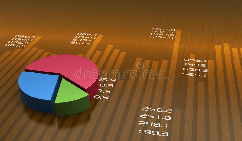 Pie chart. Business pie chart graph with data stock illustration