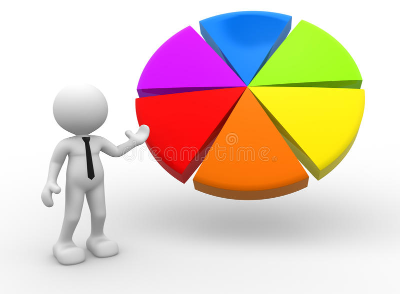 Pie chart. 3d people - man, person pointing a pie chart stock illustration