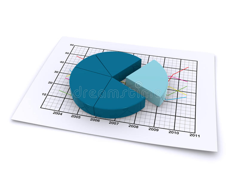 Pie chart 3d. 3d pie chart on a paper sheet containing a sales diagram royalty free illustration
