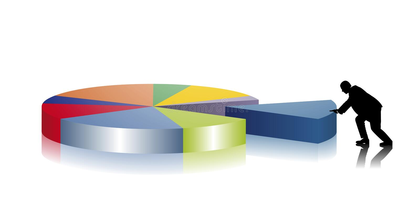 Pie chart. Business man creates a pie chart vector illustration