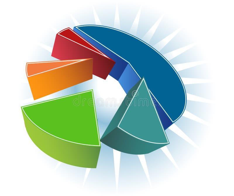 Pie Chart. 3D image of isometric pie chart stock illustration