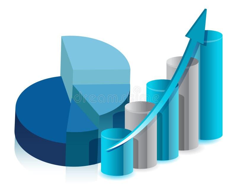 Pie chart and bar graph illustration design royalty free illustration