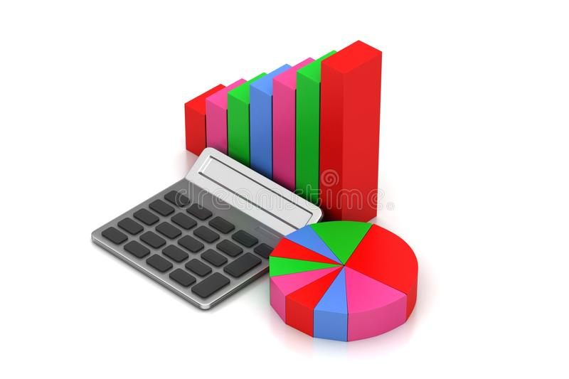 Pie chart and bar graph royalty free illustration