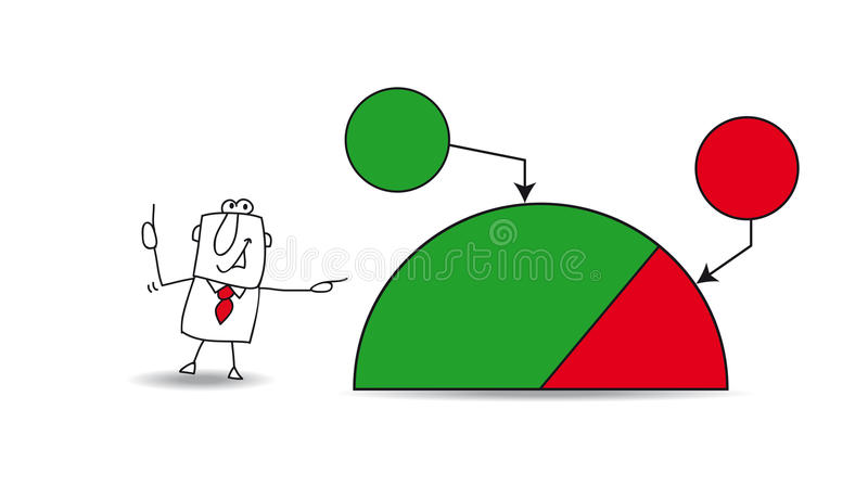 Pie chart with a businessman. Joe shows a pie chart with the results of his company. the balance sheet is very good. the goals are growing up. Write your data in vector illustration
