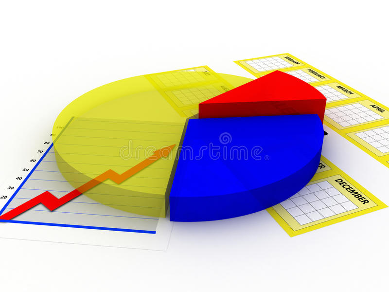Pie chart with calender royalty free illustration