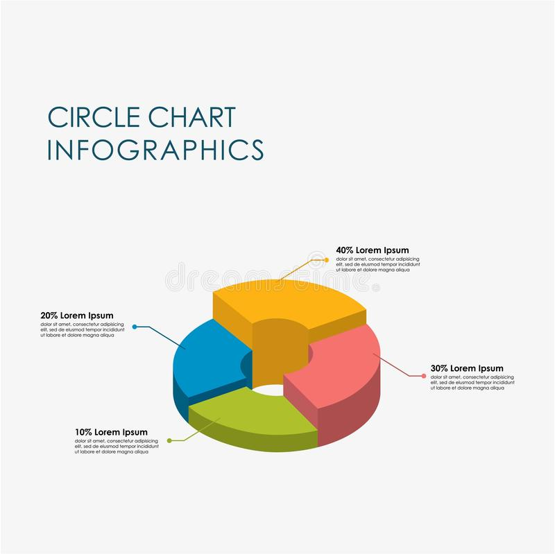 Pie Chart, Circle Chart Infographics Elements 3D Vector Flat Design, Full Color royalty free illustration
