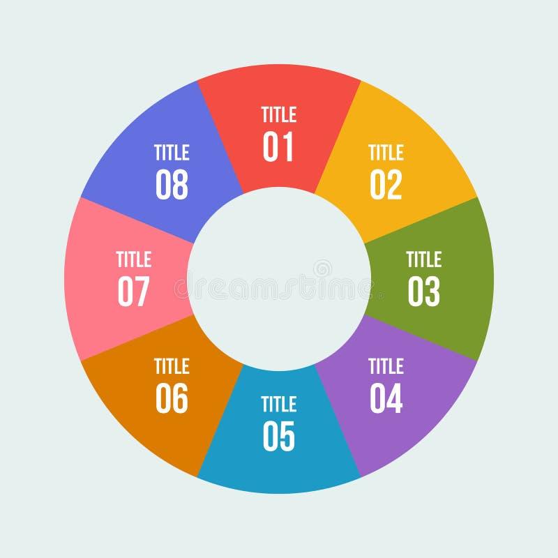 Pie chart, Circle infographic or Circular diagram. 8 steps Pie chart, Circle infographic or Circular diagram vector illustration