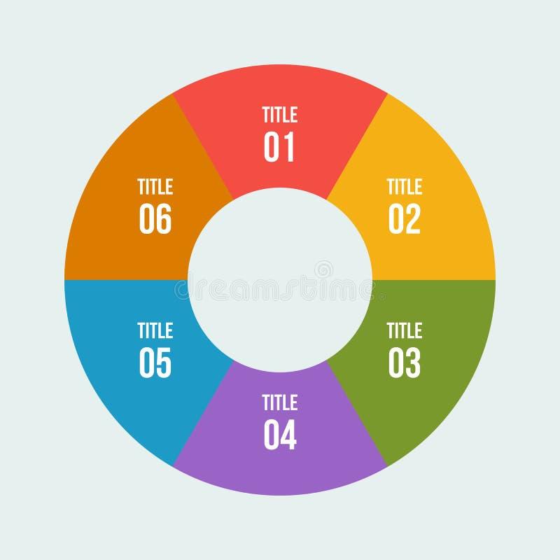 Pie chart, Circle infographic or Circular diagram. 6 steps Pie chart, Circle infographic or Circular diagram vector illustration