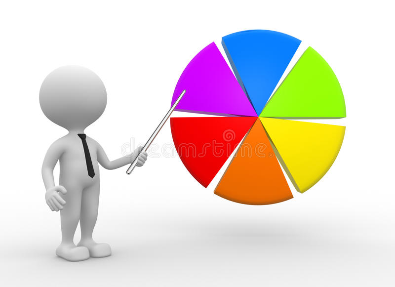 Pie chart. 3d people - man, person pointing pie chart stock illustration