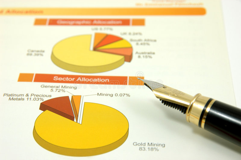 Download Pie Chart With Fountain Pen Stock Photo - Image: 2487136