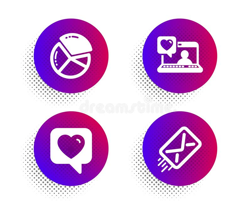 Pie chart, Friends chat and Heart icons set. E-mail sign. Presentation graph, Love, Like rating. Mail delivery. Vector. Pie chart, Friends chat and Heart icons stock illustration