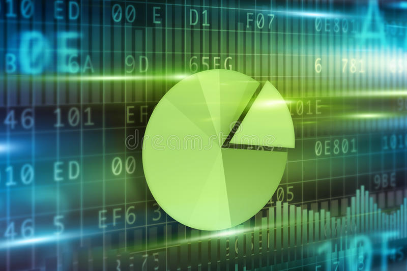Pie-chart on futuristic background royalty free stock photo