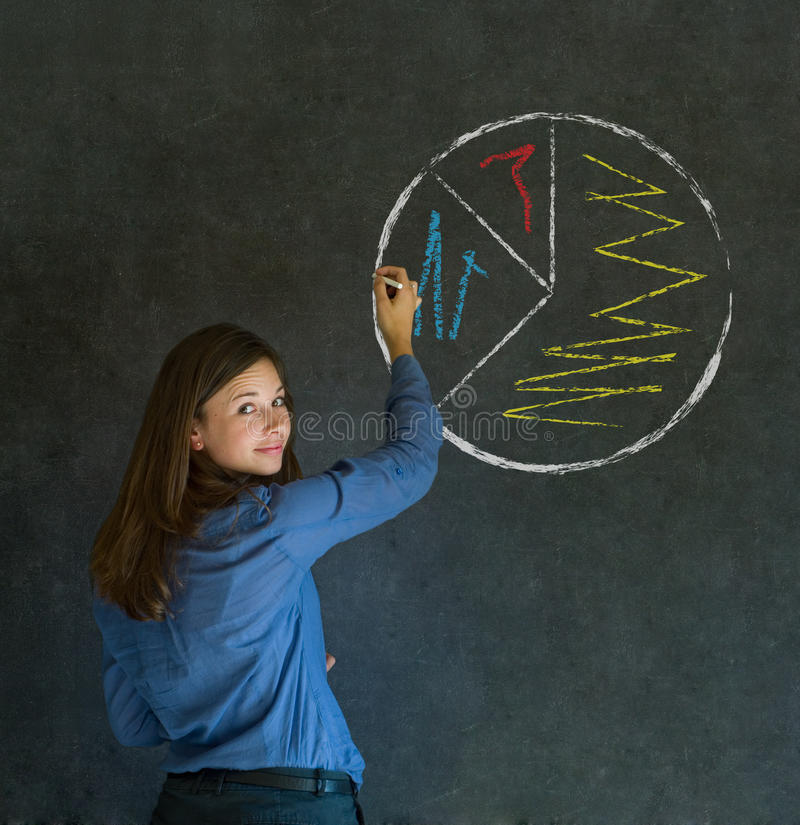 Pie chart business woman. Pie chart graph chalk background business woman royalty free stock images