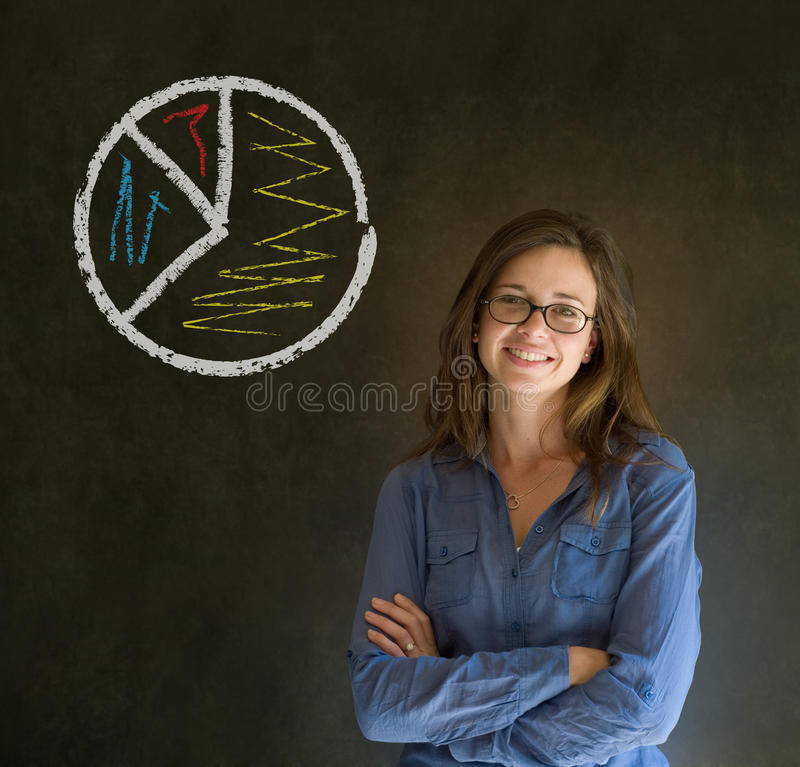 Pie chart business woman. Pie chart graph chalk background business woman royalty free stock image