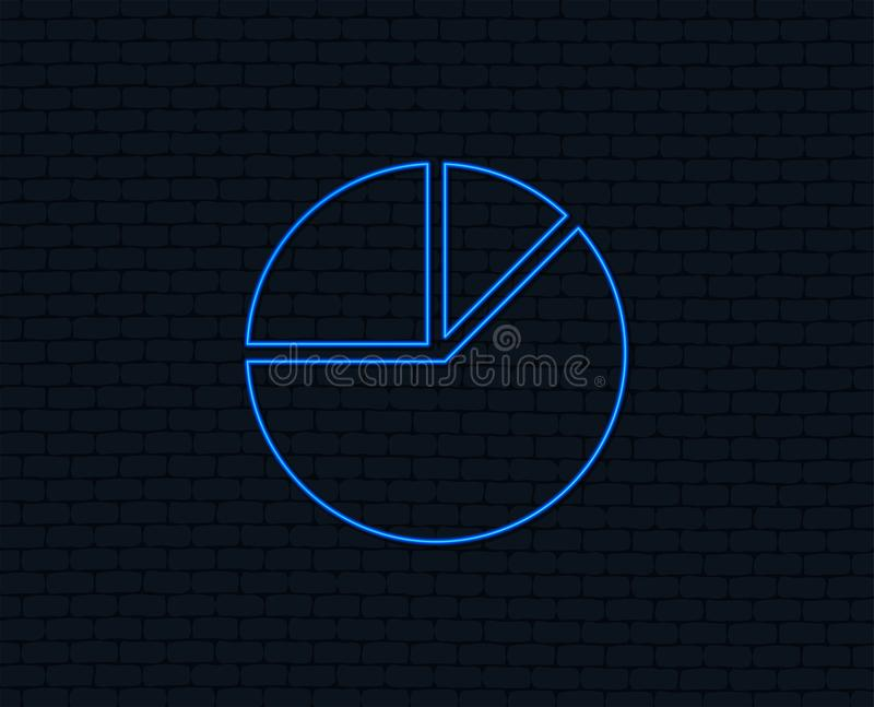 Pie chart graph sign icon. Diagram button. Neon light. Pie chart graph sign icon. Diagram button. Glowing graphic design. Brick wall. Vector royalty free illustration