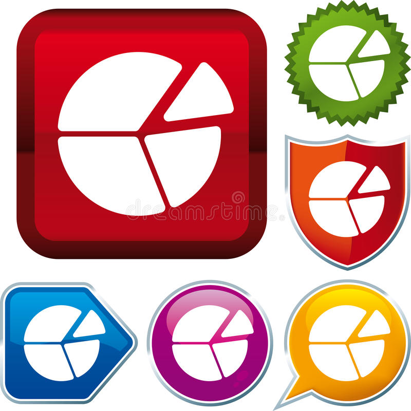 Pie chart icon. On different buttons (vector vector illustration