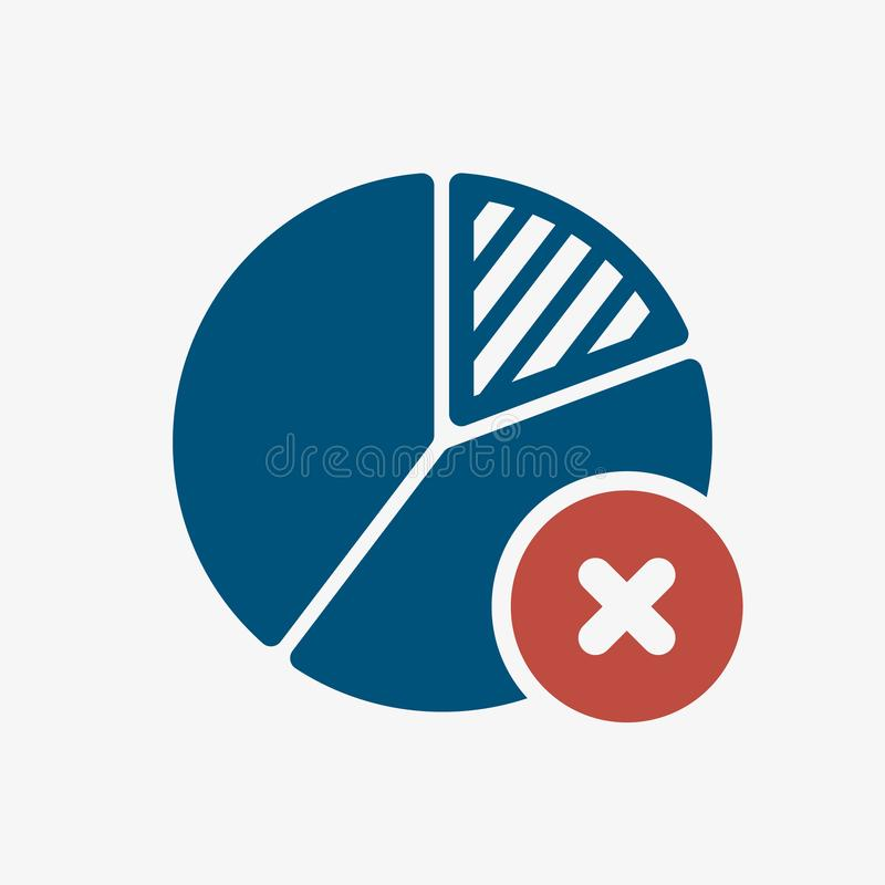 Pie chart icon, business icon with cancel sign. Pie chart icon and close, delete, remove symbol. Vector illustration stock illustration