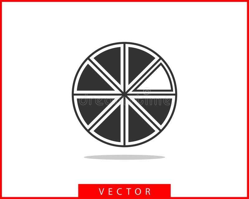 Pie chart icon. Circle diagram vector. Charts graphs logo template.  stock illustration