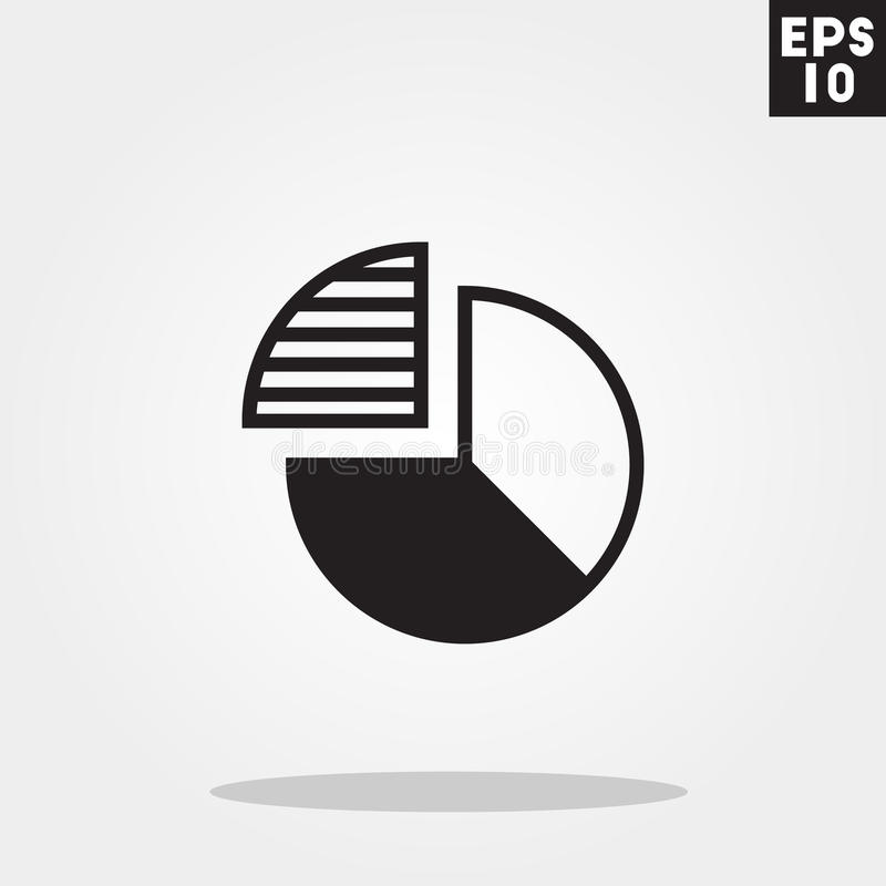 Pie chart icon in trendy flat style isolated on grey background. stock illustration
