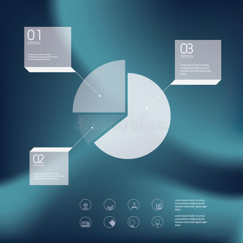 Pie chart infographics template. Line icons of royalty free illustration