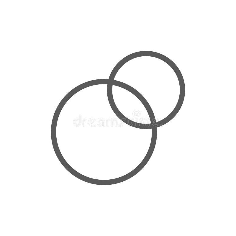 Pie chart, intersecting circles, venn diagram line icon. stock illustration