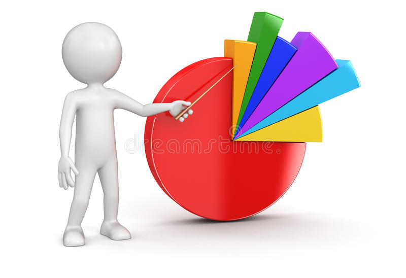 Pie chart and man. Image with clipping path vector illustration