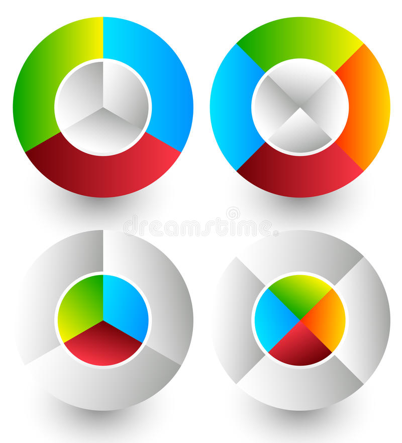 Pie chart, pie graph icons. Analytics, diagnostics, infographic. Icons. Colorful segmented circle elements. Divided circles in 3 and 4 parts with 2 version royalty free illustration