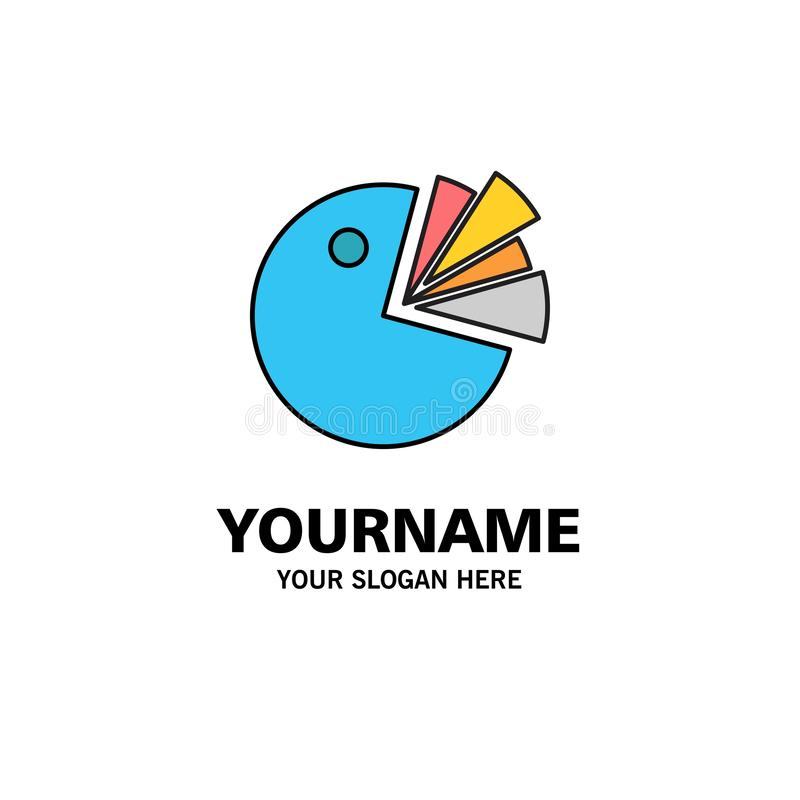 Pie, Chart, Presentation, Diagram Business Logo Template. Flat Color royalty free illustration