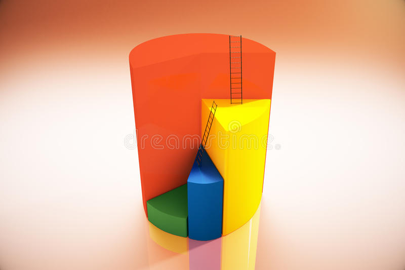 Pie chart on red background. Abstract pie chart with ladders on red background. 3D Rendering royalty free illustration
