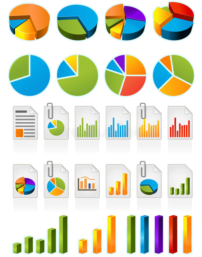 Pie charts. Three-dimensional pie charts and file icons