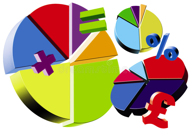 Pie charts royalty free illustration